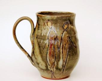 Handmade mug by Elena Madureri. 16 oz. Pottery Mug . Stoneware Mug / Coffee Cup -  Ceramic Coffee Mug, Pottery Handmade.