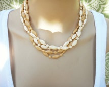 Vintage Toffee Brown Cream Bead Necklace, 60s 1960s Necklace, Beige Tan Necklace, Set of Two Necklaces, Plastic Bead Necklace Set