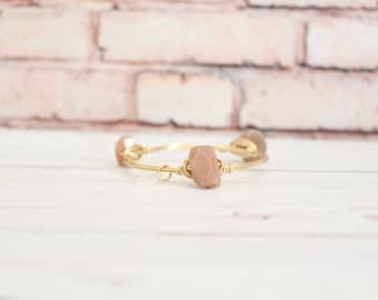 The Lookout Point - Peach Subtle Sparkle Stone - Wire Wrapped Gold Bangle