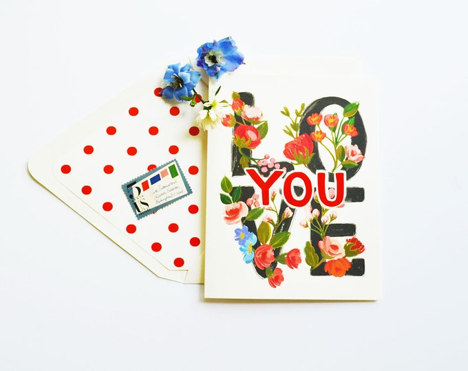 Love YOU card floral