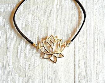 Lotus Flower Bracelet on Brown Leather Cord / Golden Lotus Charm Bracelet / Yoga Bracelet / Yoga Jewelry / Bohemian Bracelet
