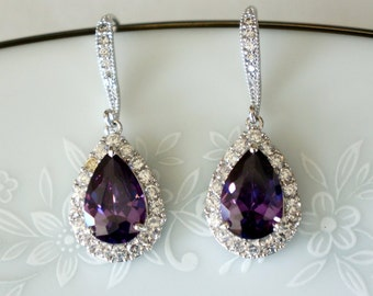 Purple Bridesmaid Earrings Wedding Jewelry Amethyst Bridesmaid Earrings Swarovski Crystal Earrings Bridal Jewelry Crystal Drop Bridal