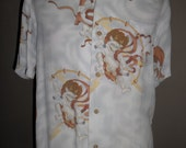 Stunning  Hawaiian Shirt  Jack's Surf , Crepe Rayon , Print Pattern  Japan Monsters , Made in Japan , Size L ,  Excellent Condition