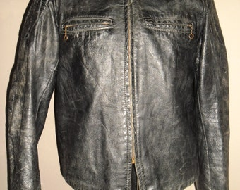 60's Stunning Black Lambskin Leather Padded  Motorcyclist Jacket Robert Lewis ,Style Cafe Racer ,Single Type Excellent Condition