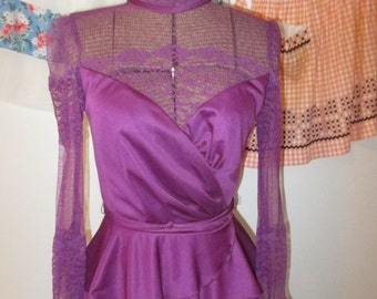Purple 1940s Style Dress - Formal Dress with Lace Bodice and Peplum