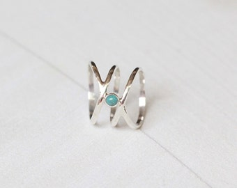 Turquoise Sterling Silver Ring, Boho Chic Ring, Statement Rings, Fashion Jewelry, Gifts, Gypsy Ring, Don Biu
