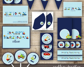 Transportation Birthday Party, Transportation Party Package, Transportation Decorations, Transportation Party Printables, Boys Birthday