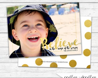 Christmas Photo Card, Believe, Gold Confetti, Holiday Photo Card, Christmas Card, Polka Dots, Printable Digital File or Printed