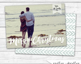 Christmas Card, Boho, Tribal Holiday Card, Photo Christmas Card, Merry Christmas, Holiday Photo Card, Printable Digital File or Printed