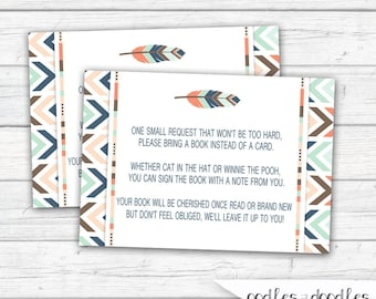 Bring a Book Insert Card, Tribal Baby Shower, Boho, Arrows, Feathers, Gender Neutral Shower, Insert  Card - INSTANT DOWNLOAD - Printable