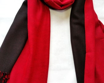 Red and Black Long Scarf | Women's Scarves | Handmade Scarves | Fashion Scarves