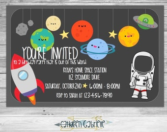 Space Birthday / Invitation / Printable