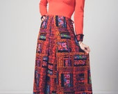 1970s orange and neon floral printed plaid dress, contrasting collar and cuffs, quality vintage bold colorful maxi dress, semi formal