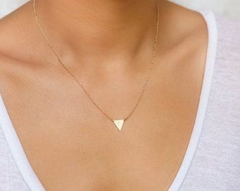 Triangle Necklace, Delta Necklace, Gold Pendant Necklace, Gold Necklace Pendant, Minimalist Necklace, Dainty Necklace, Gold Necklace, N245-G