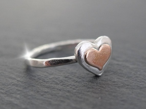 Silver and Copper Heart Ring, Ring with Heart, Copper Heart Ring, 7th Wedding Anniversary, Seventh Anniversary Gift, Romantic Gift