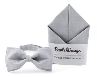 Gray Bow Tie Gray Pocket Square Gray Matching Set Bow Tie Handkerchief Gray Mens Bow Tie Gift for Grooms Ash-Gray Bow Tie Light Gray Wedding