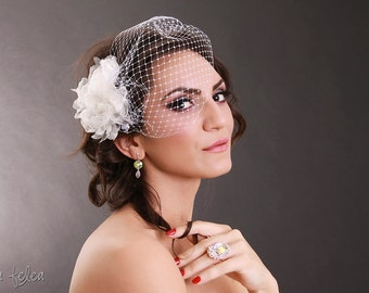 Boho bridal fascinator birdcage veil with ivory fabric flower,statement,champagne,shabby chic,wedding,bandeau style,vintage,1920's veil