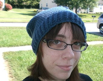 Crochet Slouchy Blue Beanie Hat With Drawstring