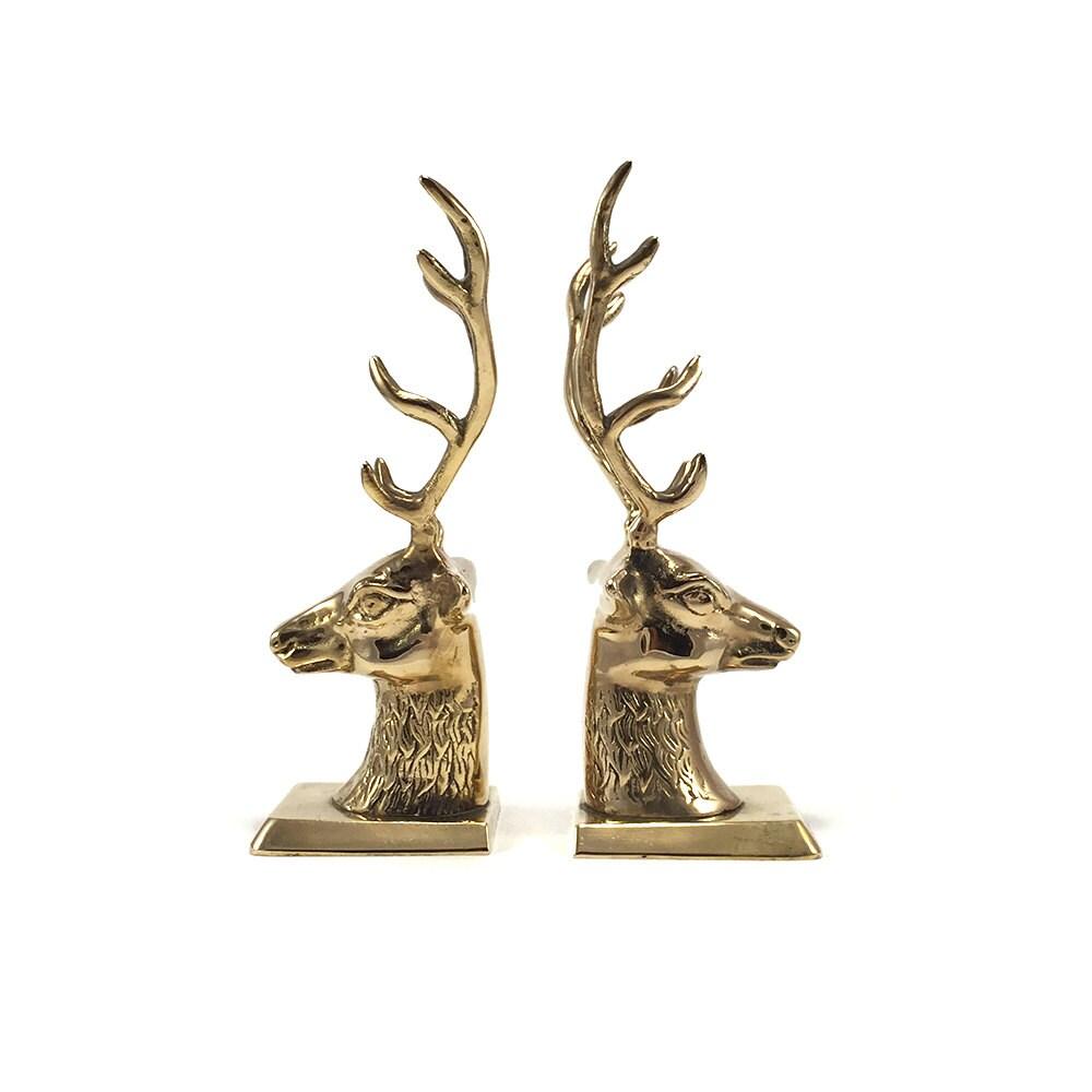 Vintage brass deer head bookends gold reindeer by harpersflea - Deer antler bookends ...