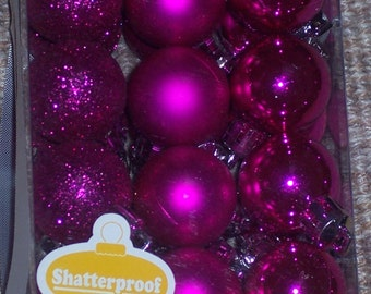 27MM pink mini balls,approx 1 inch round,shatterproof Christmas balls,24/pkg,glittered,shiny and matte finish,wreath embellishment