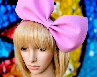 Baby pink oversized bow headband bunny hair accessory extra large giant big bow party costume dolly