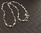 Pearl Long Necklace, Sterling Silver wire wrapped pearl jewelry,