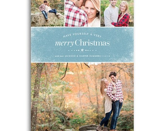 Holiday Card Template for Photographers - 5x7 Flat Card - FROSTED - 1484