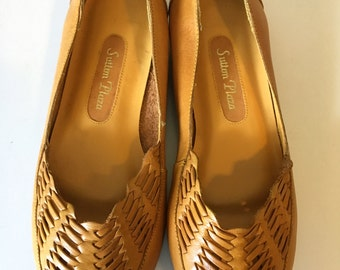 Vintage 1980's brown leather braided Sutton Place flats shoes 6 M BRAZIL