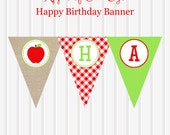 Apple of Our Eye//Apple Instant Download Happy Birthday BANNER by Marbella Printables