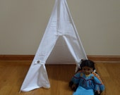 Doll Size Teepee Doll Tent Pet teepee 18 inch doll teepee  sized for American Girl or small pets Shown in White Canvas