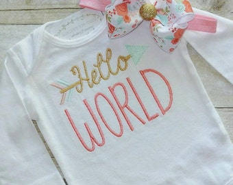 Hello world embroidered baby bodysuit or infant gown with matching hairbow headband