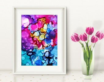 Original abstract painting bold and colorful energy ink painting