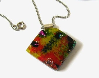 Red,Yellow, Dichroic Fused glass pendant, Statement Necklace, Sterling silver chain NL249, Birthday wedding Summer friend gift, black, Green