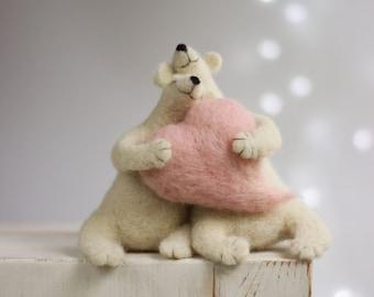 Needle Felt White Bears - Needle Felt Polar Bears - Needle Felt Art Dolls - Withe Polar Bears - Needle Felted Animals - Handmade Bears
