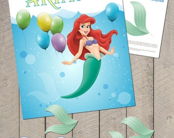 DIY Personalized Printable Pin The Tail On The Mermaid Game Birthday Party Poster File - by Carta Couture