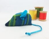 Flannel plaid cat toy, organic catnip cat toy, unique cat toy, green blue yellow