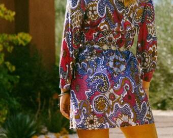 Vintage 1960's Psychedelic Floral Paisley Mini Dress