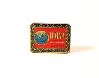 Vintage French Candy Tin, Halva, Le Bosphore, Metal, Small, Red, Decorative, Turkish Sweets