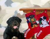 Dog Personalized Christmas Stockings, Xmas Stockings, Red Felt Stockings, Christmas Stocking, Custom Christmas Stockings