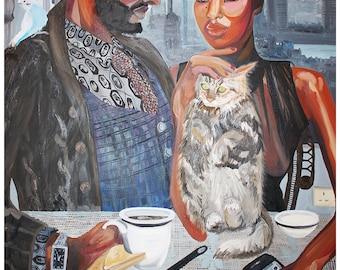 Giclee Art Print of Original Oil Painting titled London Couple breakfast