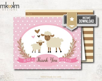 Lamb Thank You Card, Little Lamb Baby Shower, Girl Baby Shower, Printable Thank You, Pink Lamb Shower, INSTANT DOWNLOAD, #2403