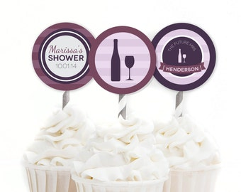 Wine Cupcake Toppers, Wine Bridal Shower, Custom Cake Topper, Bridal Shower Decor, Purple Bridal Shower, Wine Decor, DIY Printables, #22