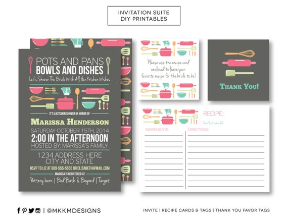 Stock the kitchen invitation set bridal shower invite recipe card il570xn filmwisefo