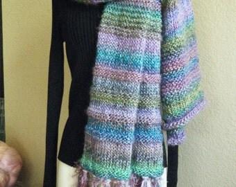Large, Colorful, Handknit Shawl.  Shawl with Fringe.