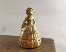 Antique brass lady bell Brass lady dinner bell Brass lady figurine bell Victorian Woman Statue Vintage brass bell Ladies statue