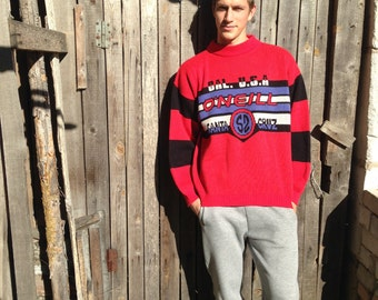 Vintage 80s sports sweater O' Neill Sweater Red blue black sweater Knit sports Sweater Vintage sports jumper