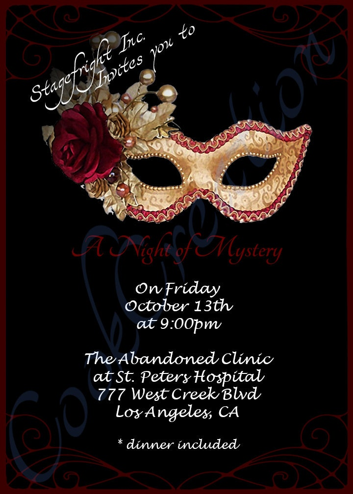 Murder Mystery Masquerade Event/Party Invitation Printable
