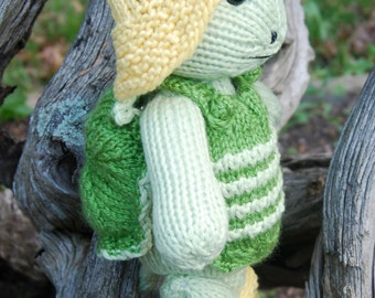 Hand Knitted Turtle Toy Stuffed Animal with Rain Hat and Rain Boots