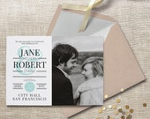Elopement announcement. Elegant wedding announcement, available as a postcard. Completely customizable and printable. #64