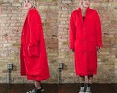 five am 90s SILK oversized cocoon jacket / puffy jacket / norm core winter jacket / minimalist jacket / silk duster / menswear inspired